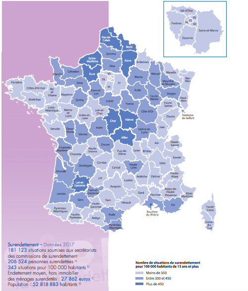 Carte du surendettement en France